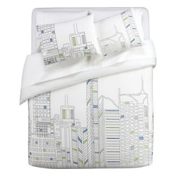 Skyline Bed Linens - I particularly like these for a teen boy's room — edgy and cool without being cheesy (plus, there's a bit of a comic book feel).