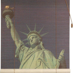 Oriental Furniture - Statue of Liberty Bamboo Blinds - (60 in. x 72 in.) - Bring home a timeless icon of the American dream with this beautiful Statue of Liberty blind. Printed in high-resolution on all natural bamboo matchsticks, this colorful window treatment will bring a colorful, patriotic look to your home or business.