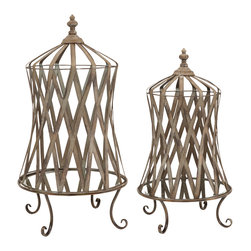 Westine Mirror Base Cloche - Set of 2 - A soft neutral finish and mirrored bases on this set of two cloches add a distinctive look to any home. Simply fill with your favorite botanicals to add your own personal touch!
