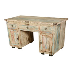 "Sierra Living Concepts - Rustic Reclaimed Wood Scalloped Edge Pedestal Desk - A rainbow of colors peeks through the antique white surface of our Paint Box Rustic Pedestal Desk. This contemporary work space includes two side cabinets, two small side drawers and a large middle drawer. The hand crafted 59"" long desk is built with eco-smart reclaimed wood from Gujarat. The old wood surfaces are naturally distressed, no extra paints or stains are added."