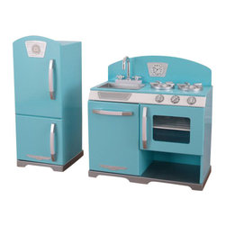 KidKraft - Blue Retro Kitchen and Refrigerator by Kidkraft - With our Blue Retro Kitchen and Refrigerator, kids can cook up feasts for the whole family. The young chefs in your life are sure to love this wooden kitchen and refrigerator's sweet colors and adorable details.