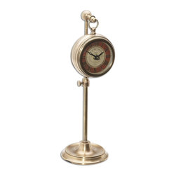 """Uttermost - Uttermost Pocket Watch Brass Thuret X-86060 - Brass pocket watch replica that hangs on an adjustable telescopic stand. Requires 1-AA battery. Stand adjusts from 8"""" to 12 1/2"""" in height."""