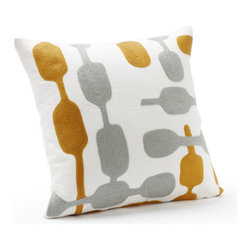 "Coyuchi Overlap Crewel Pewter and Mid Mustard Pillow - The warm side of modern. The Overlap Crewel Pewter and Mid Mustard Pillow features linked organic shapes embroidered in wool across subtly textured linen. Perfect for bed, couch or chair, these pillows are all about subtle contrasts. Coconut shells close the back and the kapok insert is removable and washable. Dimensions: 16""H x 16""W Care: Covers may be hand or machine washed in cold and line dried. Kapok inserts may be fluffed in a warm dryer for 15 minutes, and machine-washed in cold, then tumble dried on warm."