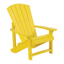 C.R. Plastic Products - C.R. Plastics Kids Adirondack Chair In Yellow - Can be used for residential or commercial use, Ergonomically designed, Heavy 78 gauge plastic lumber 12 used by competitors, All stainless steel hardware, No painting, No slivers, No Rot, Completely waterproof