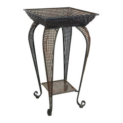 Oriental Furniture - Perforated Square Iron Display Stand - Practical and lightweight, this lovely end table features an antique-inspired design and a faux-rust patina for a delightfully vintage appearance. A wonderful way to display a vase of flowers, this charming iron stand will bring a refined, old-world accent to the home or garden.
