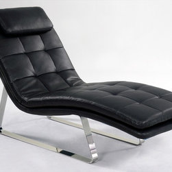 """Chintaly Imports - Corvette Chaise Lounge, Black - Sensational chaise lounge in full bonded leather with chromed steel legs. This will be the go to chair when you look for comfort to relax.; Chaise lounge; Black full bonded leather; Chrome steel legs; Dimensions:27.95""""W x 66.93""""D x 35.83""""H"""