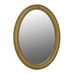 World Imports - Belle Foret 33in. x 25in. Framed Oval Vanity Mirror, Light Tan - MDF construction