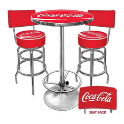 Trademark Global - Ultimate Coca-Cola Game room Stools w Back & - Includes 2 bar stools and a pub table. Made in the USA. Bar stools:. Adjustable levelers. Seat swivels 360°. Commercial grade vinyl seat. Chrome plated double rung base. Padded seat: 14.75 in. Dia. x 7.5 in. W. 30 in. H. Pub table:. Table top is trimmed with Chrome plated banding. Full color reverse side printed logo is protected by the crystal clear acrylic top. 28 in. Dia. x 1 in. thick solid wood. 0.13 in. Scratch resistant UV protective acrylic top. 42 in. H Chrome base with foot rest. Total weight: 100 lbs.This Bar Stool will be the highlight of your bar or game room. This is a very high quality stool with a comfortable padded seat that swivels 360°. A back-rest has been added for ultimate comfort. Great for gifts and recreation decor.