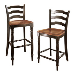 """Hooker Furniture - Indigo Creek Stool - Counter Height - White glove, in-home delivery included!  Black Finish with Rub-Through.  Each size sold separately.  Counter Stool Seat Height: 24 3/8""""  Bar Stool Seat Height: 30 5/8""""  Seat: 18 1/2"""" w x 17 1/4"""" d"""