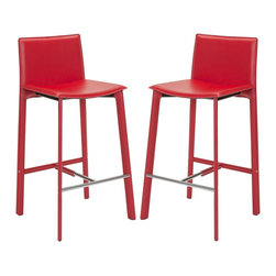 """Safavieh - Safavieh Janet 30"""" Bar Stool X-2TES-R4002XOF - Equal parts good looks and practicality, the 30"""" Janet barstool complements kitchens and family rooms designed for comfort and chic contemporary style."""