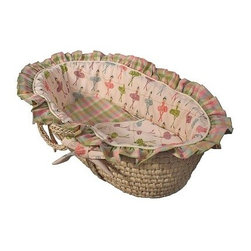 Hoohobbers Moses Basket - Ballerina - Even the tiniest dancers need their beauty sleep and they can catch it snuggled inside the Hoohobbers Moses Basket - Ballerina. The bonus for parents? This pretty sleep spot is easy to transport from room to room so you can keep an eye on your little girl while you're getting a little relaxation yourself. Crafted with durable woven material and sturdy side handles this Moses basket is lined with super-soft long-lasting bedding in 100% cotton flannel - a bumper sheet plus cushion and double-sided blanket are included all in sweet ballerina pinstripe and plaid prints in shades of pink blue green and lavender. Both the basket and bedding is machine washable for easy care. Simply remove the formed bumper insert to ensure it holds its shape gently wash and dry the cover with the other pieces and slip the insert back inside the freshly laundered cover. Suggested use for newborns.About HoohobbersBased in Chicago Hoohobbers has designed and manufactured its own line of products since 1981 beginning with the now-classic junior director's chair. Hoohobbers makes both hard goods (furniture) and soft goods. Hoohobbers' hard goods are not your typical furniture products; they fold are lightweight and portable and are made to be carried by children all around the house. Even outdoors Hoohobbers' hard goods are 100 percent water-safe. At the same time they are plenty durable and can take the abuse children often give. Hoohobbers' soft goods are fabric items ranging from bibs to bedding from art smocks to Moses baskets.Hoohobbers' products are recognized by independent third parties for their quality and performance. Hoohobbers has received Best Design Awards from America's Juvenile Products Association each time selected from more than 20 000 products. Hoohobbers has also received the Parents' Choice Award and no Hoohobbers product has ever been subject to consumer recall. Furthermore the company's products are often featured in leading women's and children's publications.