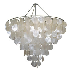 Oly Studio - Oly Studio Serena Chandelier - Circles of capiz shell cascade from a round tier to form the stunning Serena chandelier by Oly Studio, lending coastal appeal to its airy, modern motif. This artistic hanging pendant brings a stunning pearlescent glow to the room. Available in 2 sizes; Capiz shell and brass; Includes canopy and 3' of chain; Accepts four 40W bulbs (not included); Electric; Handcrafted with natural and expected variations.