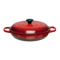 Le Creuset - Le Creuset Cherry 3 1/2-quart Signature Braiser - Ideal for braising your favorite meats and vegetables,the Signature Braiser lidded pot from Le Creuset features a cast iron construction with a fully enameled interior and domed lid to allow for a large capacity while maintaining moisture.