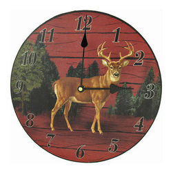 Rustic Wooden Deer Wall Clock 11 Inch - This wooden wall clock features a young buck in the center over a print of trees and the side of a red barn. It measures 11 inches in diameter and has black numbers and hands to mark the time. The clock features quartz movement and runs on 1 AA battery (not included). It is a wonderful addition to country cabins, or any room in the house.