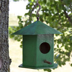 Pico Hanging Bird House with Copper Roof - Green - The bright Green finish of this Pico Hanging Bird House with Copper Roof will make a statement in your back yard or garden area. It is constructed of weather-resistant wood and a copper roof, each with the Green painted finish.