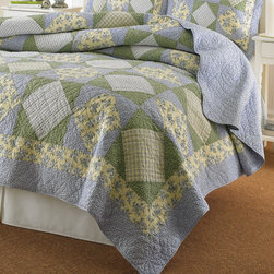 Laura Ashley Home - Caroline Quilt - Laura Ashley quilts are reminiscent of the signature Laura Ashley patterns that she designed when she launched her first collections. Each quilt features signature prints, pieced and stitched with unique details. Enjoy the treasured memories of these beautiful quilts. Features: -Material: 100% cotton.-Fill: 100% polyester.-Vermicelli quilt stitch.-Pieced.-Collection: Caroline.-Distressed: No.Dimensions: -68-104'' H x 86-96'' W.