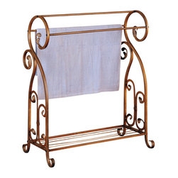 Adarn Inc. - Gold Finish Metal Blanket Quilt Towel Rack Classy Antique Ornate Scrolls Accent - Add convenient storage to your bathroom with this traditional towel rack. Crafted from metal with a beautiful antique gold finish, it is designed with ornate scrolls for a classy look. Keep your towels off the floor and neatly organized with this towel rack. It can also be used for quilts and blankets in a living area or bedroom.