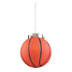 Elk Lighting - Novelty 1-Light Basketball Pendant in Satin Nickel - Fun for all ages! These whimsical lighting fixtures will put a smile on you or your child�s face with a myriad of shapes and themes meant to stir the imagination and create a lighthearted environment.
