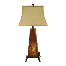 Crestview Collection - Crestview Collection CVAQP636 Amber Rock Glass Table Lamp - Crestview Collection CVAQP636 Amber Rock Glass table lamp
