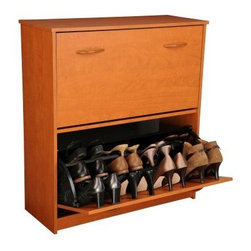 Spartak Double Level Shoe Storage Cabinet - Free up valuable closet space with the Spartak Double Level Shoe Storage Cabinet. This is an attractive functional shoe organizer for entryways bedroom closets mudrooms and more. At 34-inches high you can add a decorative bowl to the top to hold keys a cell phone and other items you need on your way out the door.Available in an oak cherry white or black laminate finish this laminated wood shoe cabinet can beautifully conceal 24 pairs of shoes with varying heel heights. Matching handles are attached to the front of the cabinet - just pull them down and the doors will tilt to give you full access to six levels of shoe storage. Some basic asssembly is required.About Spartek/Venture HorizonVenture Horizon Corporation established in 1985 is a full-service product development organization specializing in ready-to-assemble (RTA) furniture. They offer a variety of merchandise in several product categories at competitive prices. Their creative designs have been heralded by every major catalog and numerous retailers for nearly three decades. As part of their commitment to quality and service Venture Horizon has been a manufacturing partner with Spartak Enterprises of Ontario Calif. since 1995. Because they are active in every phase of the manufacturing and distribution process they are able to guarantee the highest quality materials products and packaging.In order to ensure a competitive place among leading RTA furniture manufacturers they work in a variety of mediums including solid hardwoods MDF particle board steel plastic and glass. Since variety is crucial to consumer acceptance they produce their furniture in several finishes such as melamine paper and vinyl. In addition they offer a variety of popular finish options that change with the seasons as well as with the times.