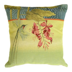 Pillow Decor Ltd. - Pillow Decor - Long-Tailed Humming Bird Pillow - Give your space a bird's-eye view with this Jacquard-woven tapestry pillow. A hummingbird flits above a pink hibiscus for a tropical touch.