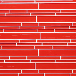 Lantern Red Random Strip Glass Mosaic Tiles