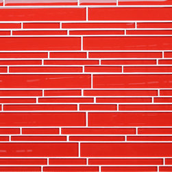 Rocky Point Tile - Lantern Red Random Strip Glass Mosaic Tiles - That's electric! Instantly transform the look of your kitchen or bathroom with a shock of glossy lantern red strip tiles. Perfect as a solid backdrop — or try combining with snow white tiles to create candy-cane or bold stripes.