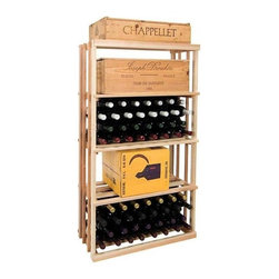 Wine Cellar Innovations - 4 ft. 1-Column Rectangular Bin Wine Rack (Rustic Pine - Midnight Black Stain) - Choose Wood Type and Stain: Rustic Pine - Midnight Black StainBottle capacity: 96. One column wine rack. Custom and organized look. Versatile wine racking. Stores wood cases, cardboard boxes and loose wine bottles. Can accommodate just about any ceiling height. Optional base platform: 26.69 in. W x 13.38 in. D x 3.81 in. H (5 lbs.). Wine rack: 26.69 in. W x 13.5 in. D x 47.19 in. H (4 lbs.). Vintner collection. Made in USA. Warranty. Assembly Instructions. Rack should be attached to a wall to prevent wobble