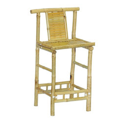 """Bamboo54 - Bamboo Knock Down Bar Stool - This is our strongest bamboo bar stool rated for 250 lbs. Knock down but very easy assembly. Great for any bar or any area in dire need of some tropical flair. Measures 40"""" H x 22"""" W x 18"""" D with 27"""" seat height"""