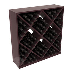 Solid Diamond Wine Storage Cube in Redwood with Burgundy Stain + Satin Finish - Elegant diamond bin style bottle openings make for simple loading of your favorite wines. This solid wooden wine cube is a perfect alternative to column-style racking kits. Double your storage capacity with back-to-back units without requiring more access area. We build this rack to our industry leading standards and your satisfaction is guaranteed.