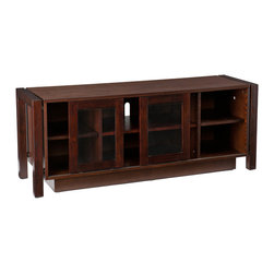 "Holly & Martin - Kenton TV Stand/Media Console, Espresso - This black media cabinet is the perfect option for those upgrading their home entertainment centers. This piece, designed for all the modern conveniences, features a wide surface at the appropriate height for a large flat-screen television. Inside the cabinet there are adjustable shelves for organizing electronic components and media. The two doors feature a unique sliding action to open each section of this unit. Holding up to 175lbs, this modern media center will accommodate up to a 50"" flat panel television."