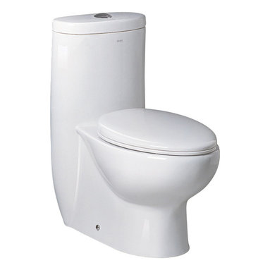 """Atlas International Inc - Dual Flush Toilet - Ariel Platinum Contemporary One Piece """"Hermes"""" (White) - Modern Eco-Friendly One Piece White toilet. Ariel cutting-edge designed one-piece toilets with powerful flushing system. It's a beautiful, modern toilet for your contemporary bathroom remodel."""