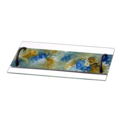 Glass Serving Tray with Metal Handles, X-Large, Ocean Breeze - This stunning hand-painted glass tray has metal handles on each side to enhance the serving allure. The tray can be used to serve a variety of foods, as a center piece on your dining table, or on you vanity with perfume and other items. Seen here in large.