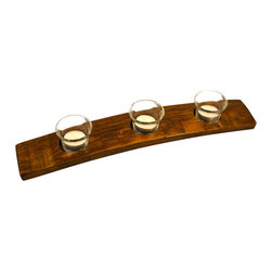 Alpine Wine Design - Small Wine Stave Candleholder, Provincial - You wouldn't dream of a candlelit dinner without fine wine, so why not complete the mood with this candleholder, crafted from an old Napa Valley wine barrel stave? Salute!