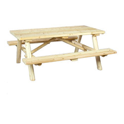 Rustic Natural Cedar - Rustic Natural Cedar 200021 Log Style Picnic Table - Resistant to insect damage and weather decay, cedar is the natural choice for outdoor dining. This cleverly designed ultra-sturdy table features benches that flip up for easy lawn mowing. Smooth sanded for maximum comfort and long-lasting good looks, this is one picnic table that wont leave you with splinters. When left untreated, the creamy colored cedar will weather gracefully to a silvery grey.