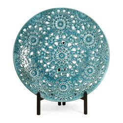 "IMAX - Lopez Floral Pierced Charger with Iron Stand - In vibrant color, the Lopez Pierced Floral Charger with stand features an intricate cutwork design, sure to get noticed and sturdy iron stand. For a coordinated look purchase matching vases. Item Dimensions: (18.5""d)"