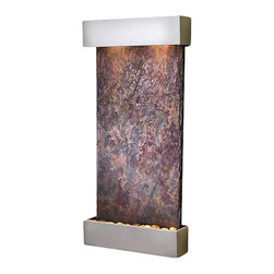 Whispering Creek Wall Fountain, Metallic Silver, Multi Color Slate - The Whispering Creek Wall Fountain is a centerpiece of serenity and beauty of nature that is perfect for your home or office. This fountain brightens up a room with its tranquil, flowing sounds and a feel of being one with nature.