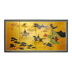 "Oriental Furniture - 36"" View From the Heavens on Gold Leaf - Evoke images of the Orient with this soft and beautiful, hand-painted gold leaf rendition of a view from the heavens. Note that no two renderings are exactly the same. Subtle, beautiful hand painted wall art."