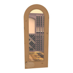 """CellarSelect™ Wine Cellar Door: Cabernet Full Lite (Oak Stain with Lacquer) - Standard 30"""" x 80"""" arched glass cellar door is sure to impress. Handcrafted knotty alder doors feature a full radius arch with matching casings, sollid 1 3/4"""" construction and stunning stain and lacquer options to match your wine cellar racking."""