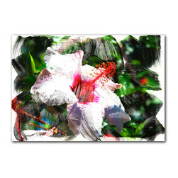 READY2HANGART.COM - Ready2hangart Alexis Bueno Tropical Hibiscus Canvas Wall Art - This abstract hibiscus flower canvas art, has soft strokes of color and balancing with a radiant centerpiece. It is fully finished, arriving ready to hang on the wall of your choice.