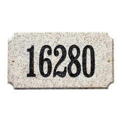 QualArc Executive Rectangle Granite Address Plaque - Showcase your house number in style with the QualArc Executive Rectangle Granite Address Plaque. This solid granite rectangle can be engraved with up to five digits measuring 4 inches each. Customize your selection with black, gold, mocha, and white font options and seven stone colors including autumn leaf natural, black polished, emerald green polished, five color natural, quartzite, sand granite polished, and white granite natural. Measures 13L x 7W x 2H inches and mounts easily with the included hardware.About QualArcBased in Rancho Cordova, California, QualArc makes the things that mark your home. Using unique and beautiful weatherproof materials and industry-standard manufacturing processes, they create address plaques, mailboxes, and more that are built to last. Stone, aluminum, steel, granite and more come together to create high-quality markers with high curb appeal. It's easy for friends and family to find your house when it's marked with a QualArc product.