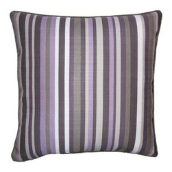 Squarefeathers - Heather, Stripe Pillow - Full of different shades of purple, the Heather pillow collection is eye catching and beautiful! Made of faux linen with a faux linen grey back and grey rope trim. It has a soft and pump feataher/down insert inclosed with a zipper. Like all of our products, this pillow is handmade, made to order exclusively in our studio right here in the USA.