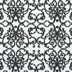 Walls Republic - Ornamental Black & White Wallpaper, Double Roll - Ornamental black and white home wallpaper.