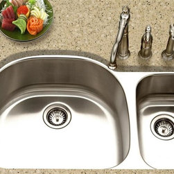 Houzer - Medallion Designer 70-30 Large Double Sink - Oversized model with the added convenience of an extra large prep bowl on the right. 9 in. and 7 in. depth. Fits 42 in. cabinets. Mounting clips, 1 basket strainer, and template included. 21.5 in. x 18.88 in. x 9 in. deep (left), 10.37 in. x 16 in. x 7 in. deep (right). Lustrous Satin Finish, Highlighted rim, SpecPlus edge, StoneGuard undercoating over sound absorbing pad. 18 gauge. T304 Premium Stainless Steel. Meets ASME A112.19.3-2000, UPC, CSA.. Faucet and strainer not included. Limited Lifetime Warranty. 35.25 in. W x 20.88 in. H x 9 in. D. Product Specifications