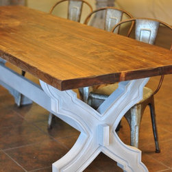 "7' ""Sarasota"" Reclaimed Cypress Dining Table - This 7' ""Sarasota"" dining table features a darker reclaimed cypress table top and a grey with white wash (Saltaire) finish. We can build this table any size and color you need. Contact us for further details."