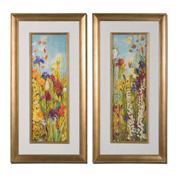 Uttermost - Merriment Floral Art, Set of 2 - Add bursts of color to your decor with these vintage-inspired vivid floral prints. Whether grouped together or hung on opposite sides of the house, these bright blooms elegantly framed in gold leaf will bring verve and joy to your home.