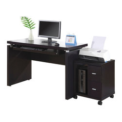 Monarch Specialties - Monarch Specialties 7003 2-Piece Office Suites in Cappuccino - Sleek and contemporary, this cappuccino desk is the perfect combination of function, durability and design in a modern form. With clean lines and thick panels, this desk will add style to any home office. Features a large size pull out keyboard tray with room for a mouse. A large desktop surface provides plenty of room for all your hardware and working needs. Coordinate with matching bookcase and mobile stand for ultimate organization.