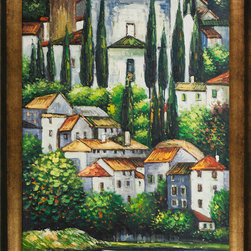 overstockArt.com - Klimt - Church in Cassone (Landscape with Cypress) Oil Painting - Hand painted oil reproduction of a famous Klimt painting, Kirche in Cassone , Church in Cassone (Landscape with Cypress). The original masterpiece was created in 1913. Today it has been carefully recreated detail-by-detail, color-by-color to near perfection. Gustav Klimt (1862-1918) was one of the most innovative and controversial artists of the early twentieth century. Influenced by European avant-garde movements represented in the annual Secession exhibitions, Klimt's mature style combines richly decorative surface patterning with complex symbolism and allegory, often with overtly erotic content. This work of art has the same emotions and beauty as the original. Why not grace your home with this reproduced masterpiece? It is sure to bring many admirers!