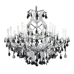"""The Gallery - Maria Theresa chandelier Crystalighting with Jet Black Crystal - A great European tradition. Nothing was ever quite so elegant as the fine crystal chandeliers that lent sparkle to brilliant evenings in palaces and manor houses across Europe. This two-tier version from the Maria Theresa collection is decorated with 100% crystal that captures and reflects the light of candle bulbs resting in a scalloped beech. The timeless elegance of these chandeliers is sure to lend a special atmosphere in every home. Assembly required. Size: H. 38"""" x W. 37""""; 16 Lights, shipping. 50. 00 shades included!"""