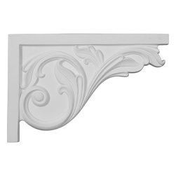 "Ekena Millwork - 11 3/4""W x 7 3/4""H x 3/4""D Large Acanthus Stair Bracket, Right - With the beauty of original and historical styles, decorative stair brackets add the finishing touch to stair systems.  Manufactured from a high density urethane foam, they hold the same type of density and detail as traditional plaster stair bracket products.  They come factory primed and can be easily installed using standard finishing nails and/or polyurethane construction adhesive."
